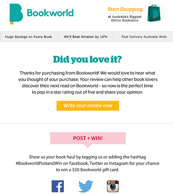 Bookworlds welcome email